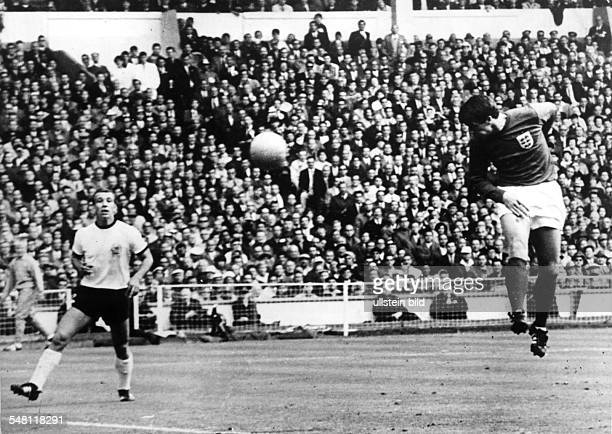1966 FIFA World Cup in England Final before 97000 spectators at Wembley Stadium in London England 4 2 Germany header by Geoffrey Hurst scoring the 1...