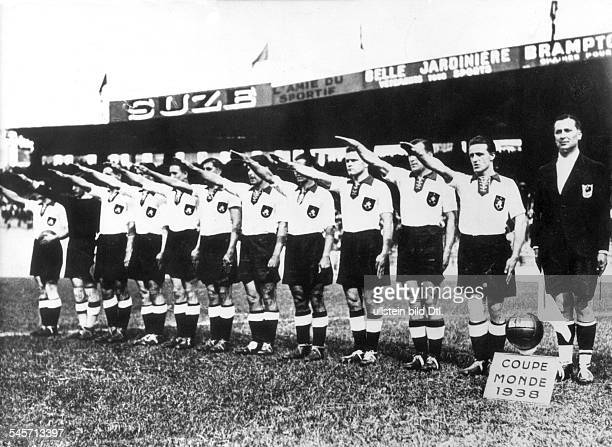 1938 FIFA World Cup in France Round of 16 Germany 1 1 Switzerland The players of the GermanAustrian national team are raising their arms for the...