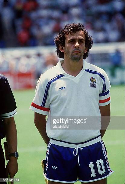 1986 FIFA World Cup in Mexico Michel Platini 1955 Football player France member of the national team Michel Platini in the France national shirt...