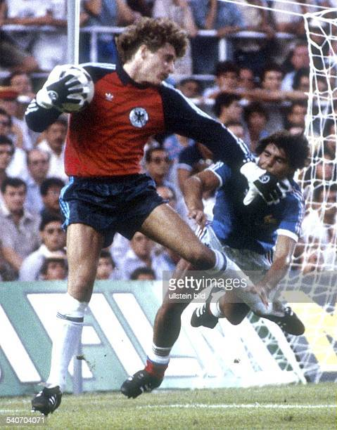 1982 FIFA World Cup in Spain Semifinal in Sevilla Germany 8 7 France Scene of the match Germany goalie Harald Schumacher hitting French player...