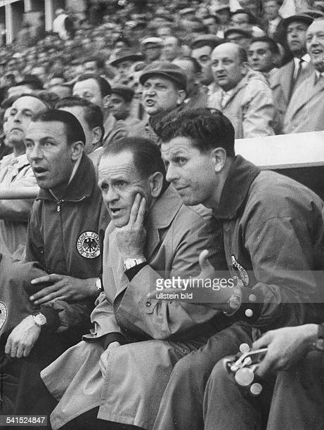 1958 FIFA World Cup in Sweden Sepp Herberger *28031897 Coach of the German national team Herberger during a firstround match against Northern Ireland...