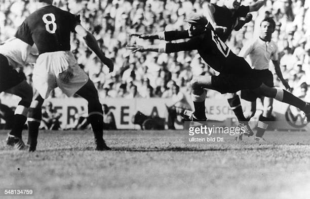 1954 FIFA World Cup in Switzerland First round match in Basel before 60000 spectators Hungary 8 3 Germany Scene of the match before the German goal...