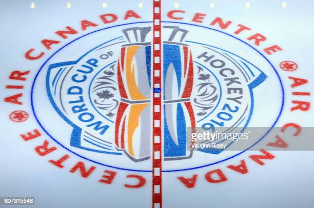 World Cup logo at centre ice prior to Team USA v Team Europe during the World Cup of Hockey 2016 at Air Canada Centre on September 17 2016 in Toronto...
