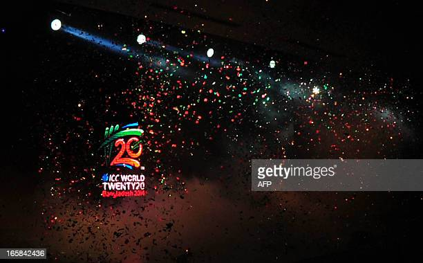 World Cup logo is seen during a logo unveiling ceremony at Radisson hotel in Dhaka on April 6 2013 The ICC World Twenty20 2014 will be played from 16...