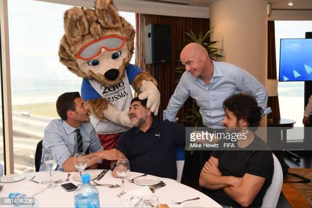 World Cup mascot Zabivaka meets FIFA Legend Diego Maradona as FIFA Deputy Secretary General Zvonimir Boban FIFA President Gianni Infantino and FIFA...