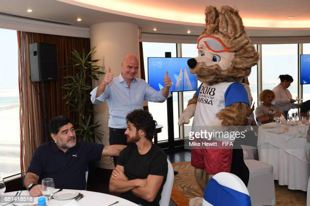 World Cup mascot Zabivaka meets FIFA President Gianni Infantino as FIFA Legends Diego Maradona and Pablo Aimar catch up during a FIFA Legends...