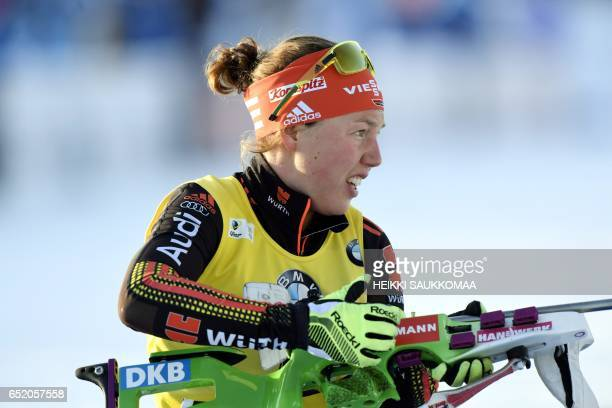 World cup overall leader Laura Dahlmeier of Germany competes during the ladies' 10 km pursuit competition at the IBU Biathlon World Cup at...