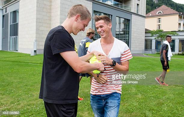 World Cup players Erik Durm and Matthias Ginter of Borussia Dortmund on August 4 2014 in Bad Ragaz Switzerland