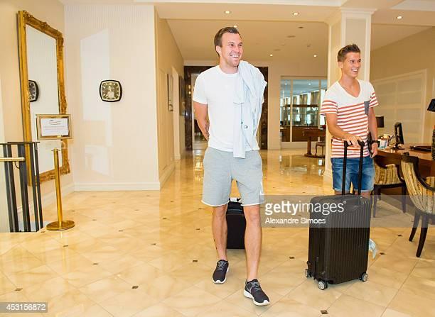 World Cup players Kevin Grosskreutz and Erik Durm of Borussia Dortmund on August 4 2014 in Bad Ragaz Switzerland