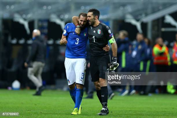 World Cup Qualifiers playoff Switzerland v Northern Ireland Giorgio Chiellini and Gianluigi Buffon of Italy crying at the end of at San Siro Stadium...