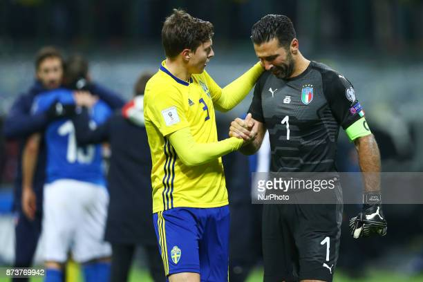World Cup Qualifiers playoff Switzerland v Northern Ireland Victor Lindelof of Sweden comforting Gianluigi Buffon of Italy crying at the end of at...