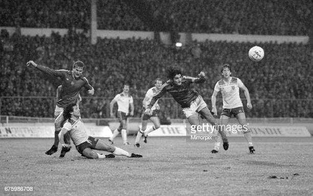 World Cup Qualifying match at Wembley Stadium England defeated Hungary by 1 goal to 0 to qualify for the 1982 tournament in Spain Hungarian defenders...