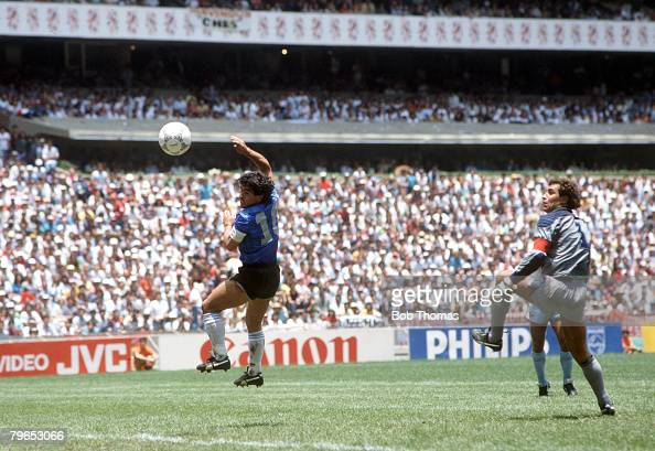 World Cup Quarter Final Azteca Stadium Mexico 22nd June Argentina 2 v England 1 Argentina's Diego Maradona scores his side's first goal past English...