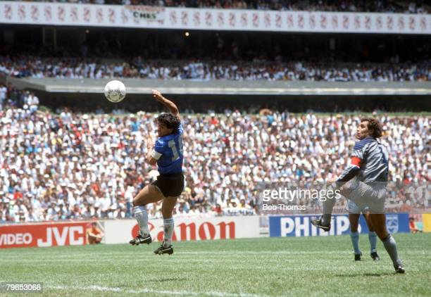 World Cup Quarter Final Azteca Stadium Mexico 22nd June Argentina 2 v England 1 Argentina's Diego Maradona scores his side's first goal past English...
