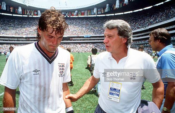 World Cup Quarter Final Azteca Stadium Mexico 22nd June Argentina 2 v England 1 England coach Bobby Robson comforts Glenn Hoddle after his team were...
