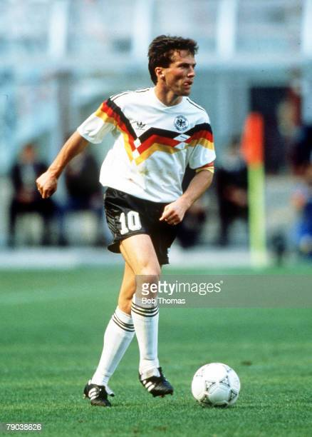 World Cup Quarter Final Milan Italy 1st July West Germany 1 v Czechoslovakia 0 West Germany's Lothar Matthaus on the ball