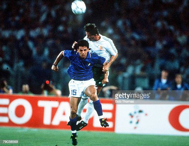 World Cup Quarter Final Rome Italy 30th June Italy 1 v Republic Of Ireland 0Italy's Roberto Baggio is beaten to the ball in the air by Republic Of...