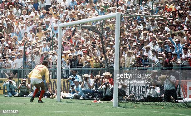 World Cup QuarterFinal Leon Mexico England 2 v West Germany 3 14th June England goalkeeper Peter Bonetti can only watch as Franz Beckenbauer's shot...