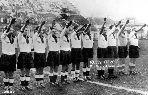 World Cup QuarterFinal San Siro Stadiun Milan Italy 31st May Germany 2 v Sweden 1 The German team give the Nazi salute before the kickoff