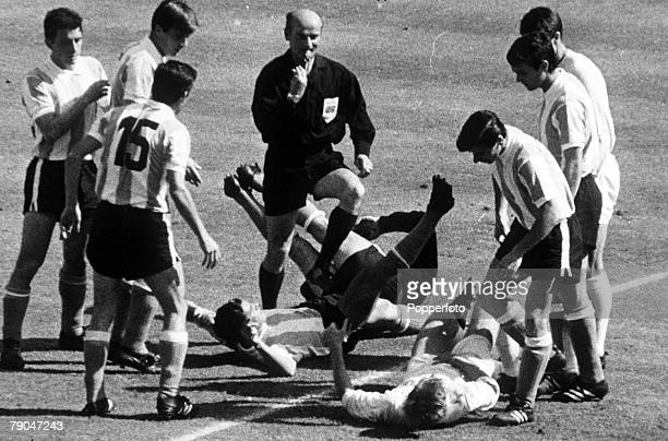 World Cup QuarterFinal Wembley Stadium London England England 1 v Argentina 0 23rd July West German referee Rudolf Kreitlein moves in to send off...