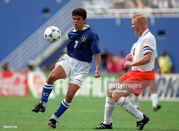 World Cup QuarterFinals Dallas USA 9th July Brazil 3 v Holland 2 Brazil's Bebeto controls the ball from Holland's Ronald Koeman
