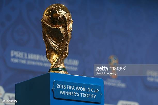 World Cup seen during pressconference at the Media centre at Konstantinovsky palace in SaintPetersburg Russia on July 24 2015