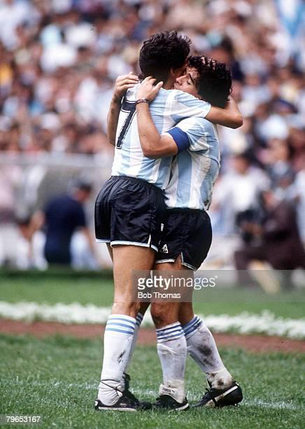 World Cup Semi Final Azteca Stadium Mexico 25th June Argentina 2 v Belgium 0 Argentina's Diego Maradona celebrates scoring his second goal with...
