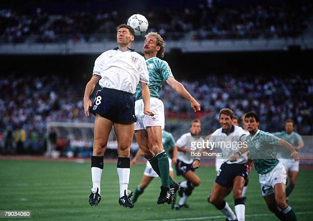 World Cup Semi Final Turin Italy 4th July West Germany 1 v England 1 England's Chris Waddle jumps up for the ball with West Germany's Rudi Voeller