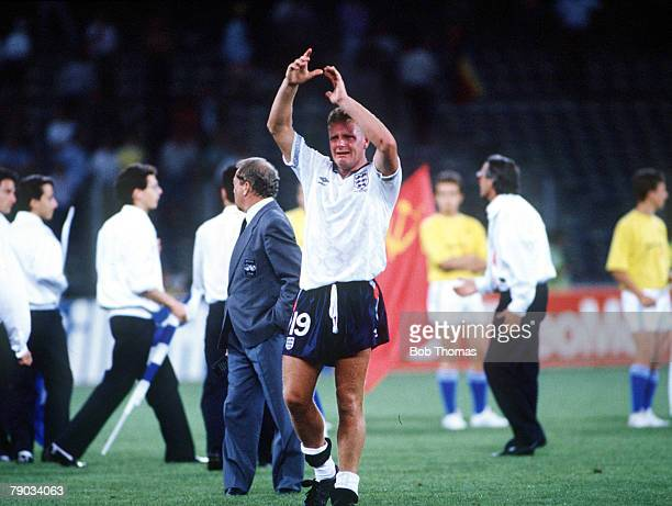 World Cup Semi Final Turin Italy 4th July West Germany 1 v England 1 A tearful Paul Gascoigne applauds the crowd at the end of the match as England...