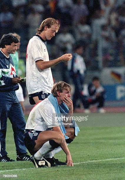 World Cup Semi Final Turin Italy 4th July West Germany 1 v England 1 England's Mark Wright and a dejected Stuart Pearce watch as Chris Waddle blasts...