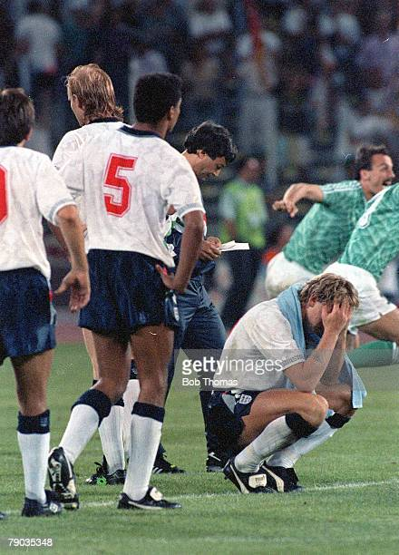 World Cup Semi Final Turin Italy 4th July West Germany 1 v England 1 Stuart Pearce sits dejected as England are eliminated following misses in the...