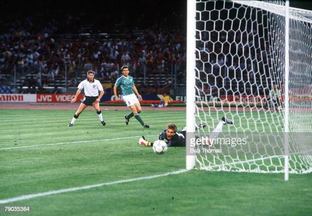 World Cup Semi Final Turin Italy 4th July West Germany 1 v England 1 England's Chris Waddle sees his shot beat West German goakeeper Bodo Illgner but...
