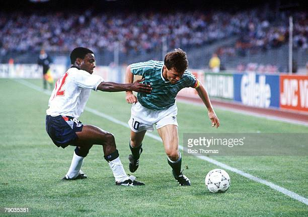 World Cup Semi Final Turin Italy 4th July West Germany 1 v England 1 West Germany's Lothar Matthaus moves past England's Paul Parker with the ball