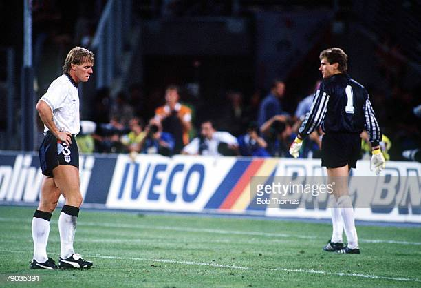 World Cup Semi Final Turin Italy 4th July West Germany 1 v England 1 England's Stuart Pearce stands dejected after West German goalkeeper Bodo...