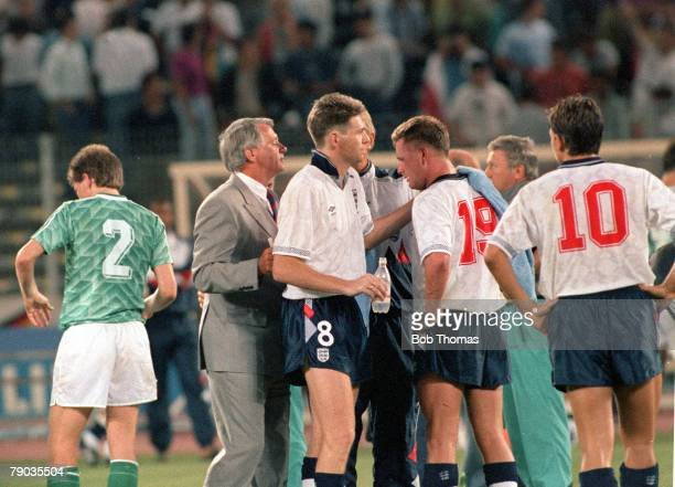 World Cup Semi Final Turin Italy 4th July West Germany 1 v England 1 England players console an emotional Paul Gascoigne at the end of the ninety...