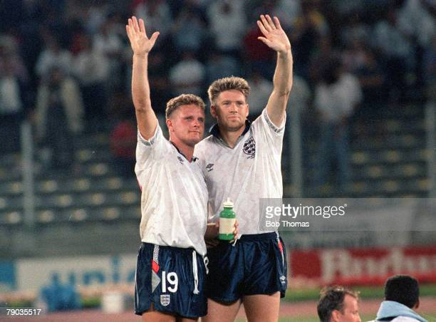 World Cup Semi Final Turin Italy 4th July West Germany 1 v England 1 England's Chris Waddle and Paul Gascoigne wave goodbye to the fans after their...