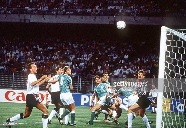 World Cup Semi Final Turin Italy 4th July West Germany 1 v England 1 West Germany's goalkeeper Bodo Illgner watches as the ball clears the bar during...