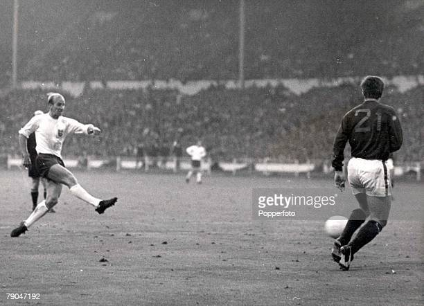 World Cup SemiFinal Wembley Stadium England 26th July England 2 v Portugal 1 England's Bobby Charlton crashes a shot past Portugal's Jose Carlos to...
