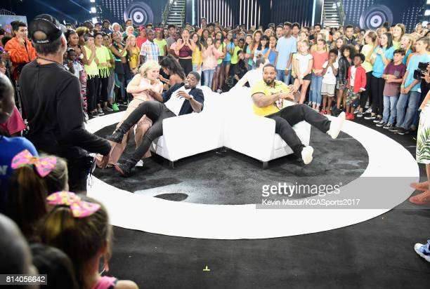 World Cup skiier Lindsey Vonn Olympic gymnast Gabby Douglas NHL player P K Subban and MLB player Prince Fielder participate in a competition during...
