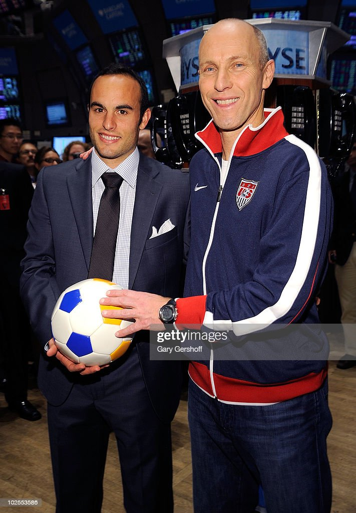 U.S. World Cup Star <a gi-track='captionPersonalityLinkClicked' href=/galleries/search?phrase=Landon+Donovan&family=editorial&specificpeople=171601 ng-click='$event.stopPropagation()'>Landon Donovan</a> (L) and U.S. Men's Natonal Team Coach <a gi-track='captionPersonalityLinkClicked' href=/galleries/search?phrase=Bob+Bradley&family=editorial&specificpeople=685515 ng-click='$event.stopPropagation()'>Bob Bradley</a> seen after ringing the closing bell at the New York Stock Exchange on June 30, 2010 in New York City.