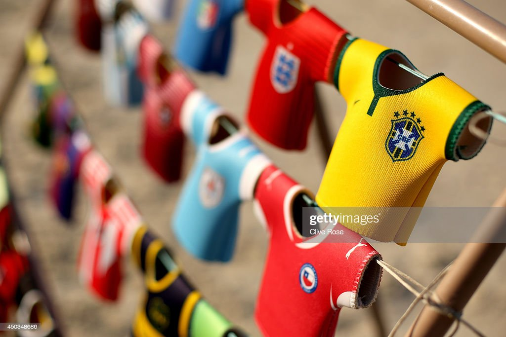 World Cup themed 'can coolers' are seen on Copacabana beach on June 9, 2014 in Rio de Janeiro, Brazil.
