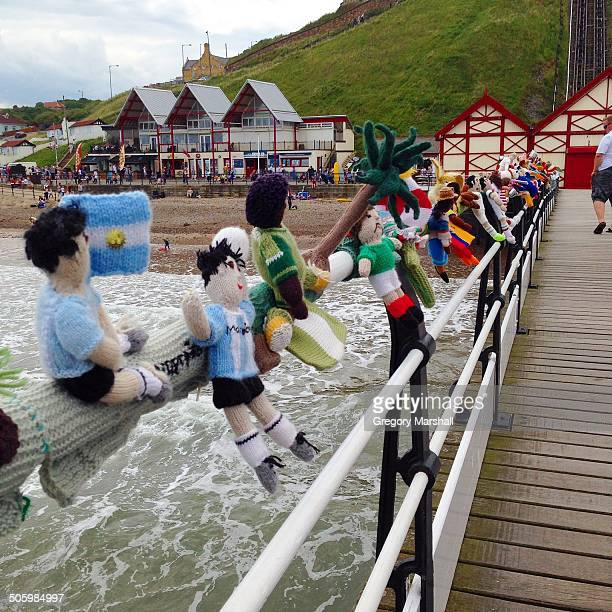 World Cup themed Yarnbombing at Saltburn pier on the North East Coast of England