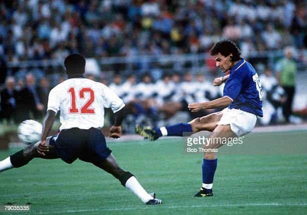 World Cup Third Place Play Off Bari Italy 7th July Italy 2 v England 1 Italy's Roberto Baggio shoots past England defender Paul Parker