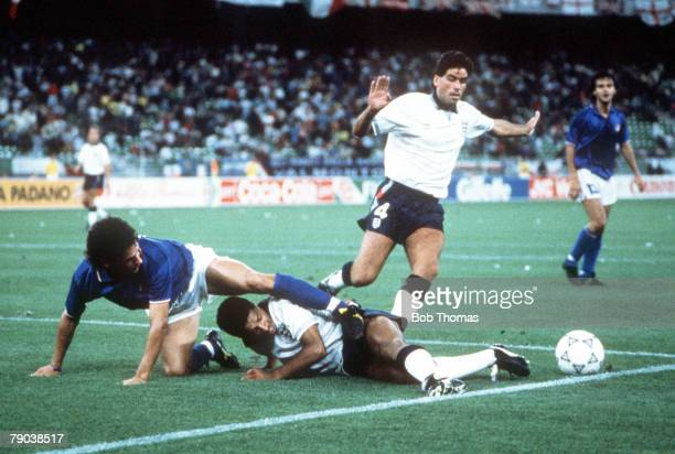 World Cup Third Place Play Off Bari Italy 7th July Italy 2 v England 1 England's Des Walker is put under pressure by Italy's Roberto Baggio as they...