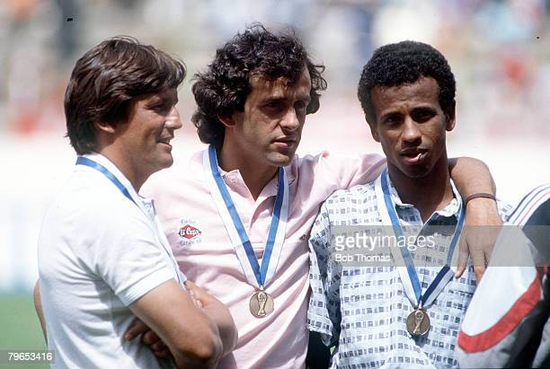 World Cup Third Place Play Off Puebla Mexico 28th June France 4 v Belgium 2 French manager Henri Michel with players Michel Platini and Jean Tigana...