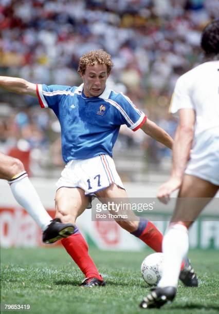 World Cup Third Place Play Off Puebla Mexico 28th June France 4 v Belgium 2 France's Jean Pierre Papin on the ball