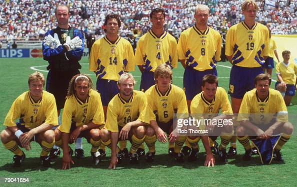 World Cup Third Place PlayOff Pasadena USA 16th July Sweden 4 v Bulgaria 0 The Sweden team group before the match