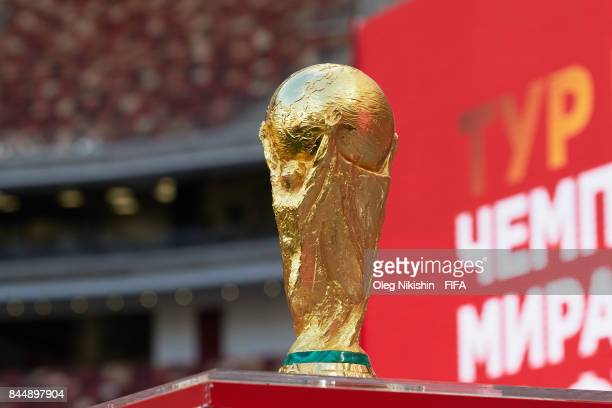 World Cup Trophy during FIFA World Cup Trophy Tour at Luzhniki stadium on September 9 2017 in Moscow Russia