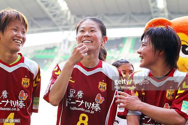 World Cup winning player Asuna Tanaka and Homare Sawa and Shinobu Ohno makes a speech after the Nadeshiko League match between INAC Kobe Leonessa and...