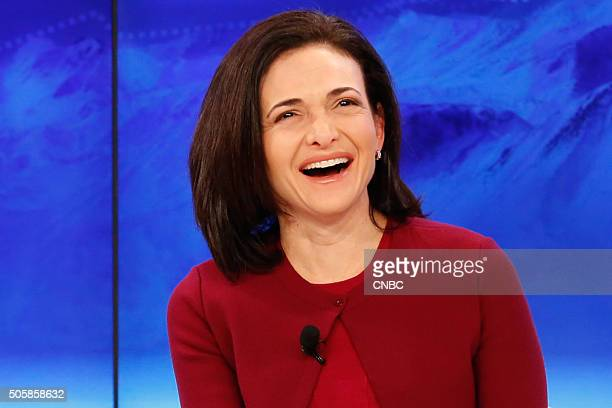 DAVOS 2016 World Economic Forum Pictured Sheryl Sandberg COO of Facebook participates in a panel discussion during the annual World Economic Forum in...